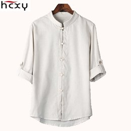 $enCountryForm.capitalKeyWord NZ - HCXY Chinese style linen shirt mens blouse new big yards 7 points sleeve cotton shirt M-5XL famous brand men shirts 2017 S917