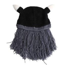 d9aa609f4f7 Funny Man Vikings Beanies Knit Cap Beard Ox Horn Hats Handmade Knitted  Men s Winter Hats Warm Caps Women Gift Party Mask