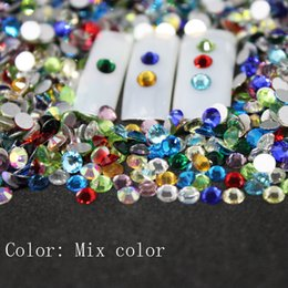 crystal stones flat back rhinestones UK - SS3-SS30 Mix color Rhinestones Back Flat Round Nail Art Decorations And Stones Non Hotfix Rhinestones Crystals for DIY Glass