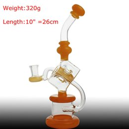Wax Bubbler Bong NZ - New Design Glass Bong Yellow Cube Filter 320g 10 inch Hookahs With 14mm male bowl yellow tip Bongs Recycler Oil Rig wax water pipe bubbler