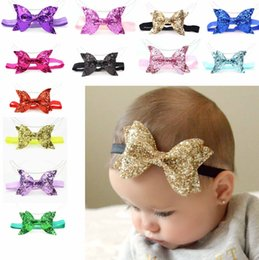 Wholesale Baby Girl Headbands Shinning Bowknot Headbands Girls Elastic Hairbands Hair Accessories Baby Headwear Many Styles
