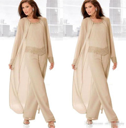 Wholesale bride wedding jacket dress resale online - Champagne Three Piece Mother of the Bride Pant Suits with Long Jackets Long Sleeves Beaded Chiffon Mother Plus Size Wedding Guest Dress