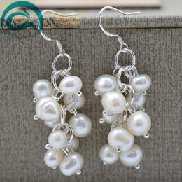 sterling silver flower earring hooks 2019 - Beautiful white color pearl earring women's jewelry 925 sterling silver hook dangle earring A899 cheap sterling sil