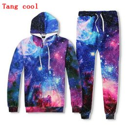 Stars Trousers NZ - Fashion 3D digital printing space star Hoodie + trousers suit 2018 spring and autumn couple track and field suit