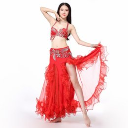 b0d270944293 Women Belly Dance Wear Flower Beaded Clothing Egyptian Costumes Oriental  Rhinestone Set Bra Belt Skirt