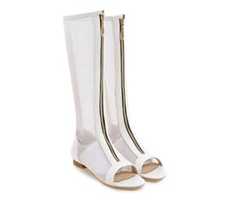 $enCountryForm.capitalKeyWord UK - Summer Women Boots Cutout Peep Toe Knee High Boots Flat Shoes Autumn Boots Hollow Ladies Shoes White Large Size 34-42
