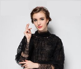 trumpet sleeve blouse NZ - Designer Women Black Lace Peplum Blouse 2018 Spring Summer Fashion Stand Collar Long Trumpet Sleeve Shirts Party Cocktail Evening Retro Tops