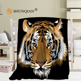 Fleece Custom Canada - Custom Tiger And Leopard Blanket Soft Fleece DIY Picture Decoration Bedroom Size 58x80Inch,50X60Inch,40X50Inch A7.10
