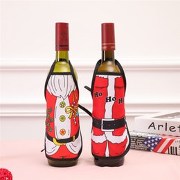 Canvas table Covers online shopping - New Mini Xmas Apron Wine Bottle Cover Household KTV Bar Christmas Wine Bottle Apron Ornament Styles Dinner Party Table Decoration Santa