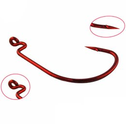 Red Fish Hooks NZ - 200pcs 2#-3 0# Red Nickel Crank Hook High Carbon Steel With Hole Barbed Hooks Fishing Hooks Fishhooks Pesca Carp Fishing Tackle Accessories