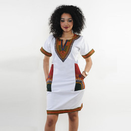 2017 Summer Autumn Ladies Dashiki Robes Femmes Col V À Manches Courtes Haute Élastique Impression Crayon Robe