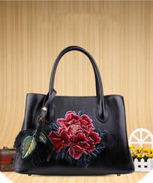 stereoscopic bag 2019 - new arrival genuine leather stereoscopic flower pattern women leather handbag discount stereoscopic bag