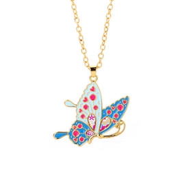 EnamEl buttErfly jEwElry online shopping - Colorful Butterfly Necklace Enamel Drop oil Insect Dog Cat Animal Pendants Necklaces For Women Girl Child Jewelry Gift Long Chain Necklace