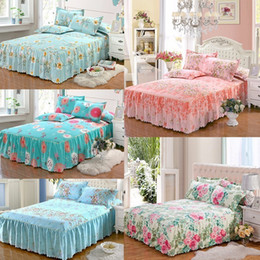 Discount pink ruffle bedspread - 150x200 cm Romantic Bloom Paern Bed Skirt Mae Non-slip Dust Ruffle Queen Size Bedspread Chandler Bed Skirt
