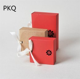 Wholesale Boxes Packaging Australia - 50pcs lot Kraft paper box Red gift candy chocolate packaging box with ribbon Wedding Party Favors Supplies Craft cardboard