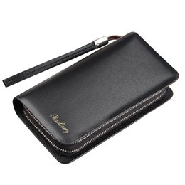 leather clutch bags for men 2019 - Baellerry brand Luxury Long Men's leather wallet with strap large capacity Man clutch money bag with coin pocket fo