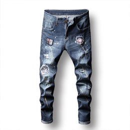 $enCountryForm.capitalKeyWord NZ - 2019 Men Painted jeans Printing Distressed Knees Holes Patches Denim Pants Casual Fashionable Pencil Pants Mid Waist Colorful Free Shipping