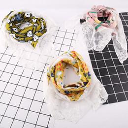 Discount autumn head scarf - 2018 New children's scarf Spring Autumn Korean Version cotton triangle lace wild scarf girls head