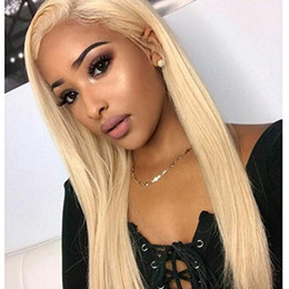 Discount indian women blonde hair - Brazilian Ombre Glueless Full Lace Human Hair Wigs For Black Women Brazilian Straight 613# Blonde Full Lace Wigs With Ba