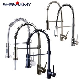 Single Hole Pull Down Kitchen Faucet Australia - SHBSHAIMY Kitchen Faucet Single Handle Hot and Cold Water Mixer Tap Pull Down Sprayer Nozzle Para Mixer Sink Faucets