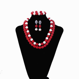 african costumes UK - 2 Rows Deep Red Women Pearl Jewelry Wedding African Beads Jewelry Set Nigerian Wedding Beads Bridal Costume Necklace Set