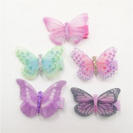 $enCountryForm.capitalKeyWord NZ - 20pc Lot Fairy Fake Butterfly Hairpin Woodland Party Favor Kid Barrette Cute Theme Party Girls Animal Flying Butterfly Hair Clip