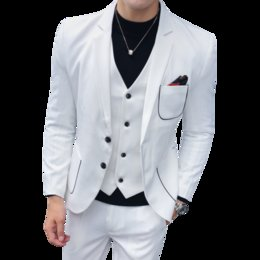 $enCountryForm.capitalKeyWord NZ - European and American fashion men's three-piece Korean youth handsome Slim British men's suit best man host wedding dress