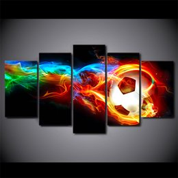 $enCountryForm.capitalKeyWord Australia - HD Printed 5 Piece Canvas Art hot Socer Football with fire painting Wall Pictures for Living Room Modern Free Shipping