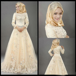 $enCountryForm.capitalKeyWord NZ - Champagne Muslim A Line Wedding Dresses Long Sleeves Lace Applique Crystal Beads Bidal Gowns Indian Style Vintage Tulle Islamic Wedding