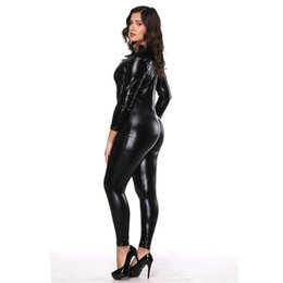 $enCountryForm.capitalKeyWord Canada - Black Wetlook Leather Look Catsuit Sexy Women Adult Jumpsuit Long Sleeve Playsuit Bodysuit Clubwear Costume Lingerie