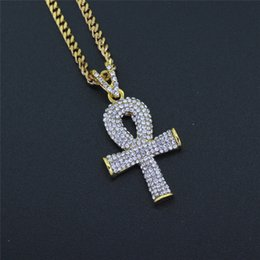 Egypt Pendants Australia - Gold Plated Egypt Ankh key Pendant Necklaces For Mens Luxury Hiphop Jewelry Full Diamond Hip Hop Accessories Wholesale