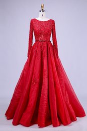 blue line scoop beading dress 2019 - 2019 Free Shipping High-Quality New Kind Shooting In Red Long Formal Party Evening Dresses Long-Sleeved Lace Bead Ball P