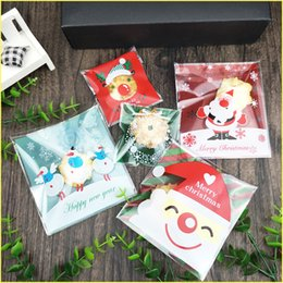 costume packaging 2019 - 100pcs Christmas Halloween Cookie DIY Food Bag Self Adhesive Seal Packaging Plastic Bag Santa Claus Snowman Printed Chri