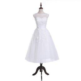 $enCountryForm.capitalKeyWord UK - 2018 Sexy Scoop Appliques Tea-Length A-Line Wedding Dresses With Pleat Button Tulle Zipper Bridal Gowns Vestido De Novia BA10