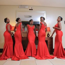 bbf0a13e7c0af South African Nigeria Girls Backless Bridesmaids Dresses Mermaid Off  Shoulder With Removable Big Bow Tie 2018 Plus Size Maid of Honor Gowns
