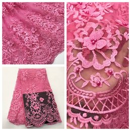Wholesale Beaded Lace Appliques Canada - High Quality Mesh African Lace Fabric Tulle Beaded French Net Lace Applique Guipure Nigerian Lace Fabrics for Dress A18040401A