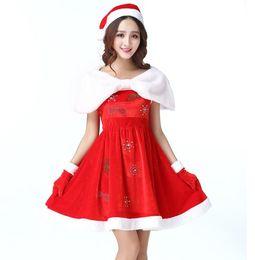 e1eb4e7fe Vestido de navidad para mujer Traje de navidad para adultos Vestidos de  piel de terciopelo Encapuchado sexy traje de santa claus