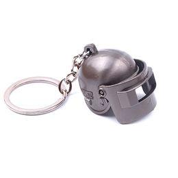 Led heLmets online shopping - PUBG Black Gun Plated Special Corps Level Helmet Keychain Playerunknown s Battlegrounds Can Opene Closed Helmet Keyring