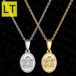 Discount classic q - LT Classic Gold Color Cupid Angel Pendant Necklace For Women Stainless Steel Round Amulet Angel Wings Jewelry Pendant Q-
