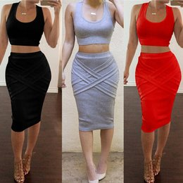 bce4d4ae93d18 Women s Two Piece Bodycon Bandage Dress Sleeveless U-Neck Crop Top Midi  Skirt Outfit Sexy Club Party Dress DZF0201