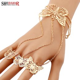 Butterfly Chain Bracelets Silver NZ - SHEEGIOR Lovely Finger Chain Bracelets Bangles for Women Fashion Jewelry Gold Silver Hollow Butterfly Charms Bracelet Femme Gift