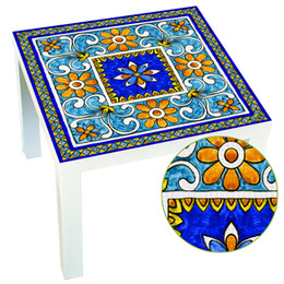 Discount italian tops - Wholesale 1 PCS 55x55CM Italian Majolica Tile Lack Table Tops Wall Art Removable Self-adhesive Waterproof Wall Sticker