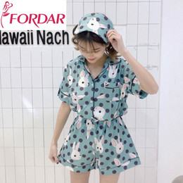 Kawaii pajamas online shopping - Kawaii Rabbit Printed Sweet Summer Suits Pajamas  Set Loose Short Sleeve e0f2b1c57