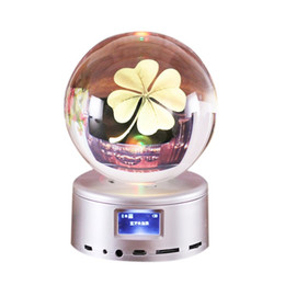 Clear Balls Australia - 80 mm Wireless Bluetooth Crystal Ball Music Box Rotate Bluetooth MP4 Base Remote Control Music Box For Valentine's Day