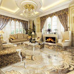 Wholesale European Style 3D Floor Tiles Mural Marble Wallpaper Living Room Hotel Wear Non-slip Waterproof Self-adhesive Luxury Wall Papers