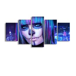 Art Canvas Prints Australia - 5 pieces high-definition print Dead Face canvas painting poster and wall art living room picture RW-072