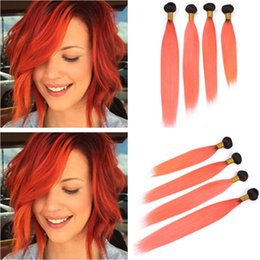 $enCountryForm.capitalKeyWord Australia - Malaysian Straight Human Hair Wefts 1B Orange Dark Root Ombre Virgin Human Hair Bundles Deals 4Pcs Lot Ombre Orange Hair Weaves Extensions