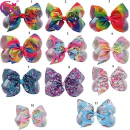 $enCountryForm.capitalKeyWord Canada - 8 inch Unicorn Hair Bow With Clip Jumbo Baby Accessories Unicornio Large Hair Bows Girls Boutique Mermaid Bows
