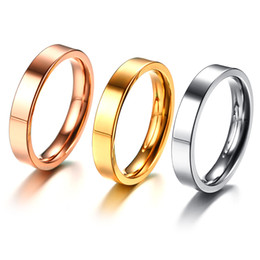 pipes engraving NZ - Free Engraving 4MM Gold Rose Gold Silver Plated Stainless Steel Wedding Band Ring Pipe Cut Polished Finish US Size 6-9