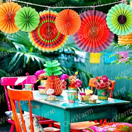 Birthday parties decoration online shopping - Eco Friendly Colorful Paper Fans Birthday Kids Party Hanging Decoration Hang Swirl For Mexican Party Supplies Home Wall